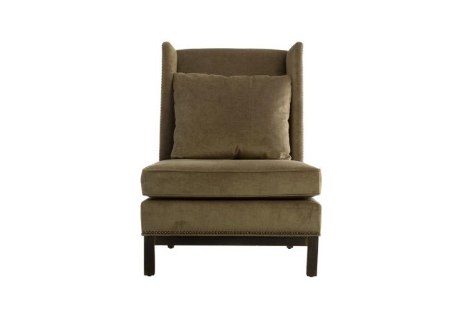 Beautiful contemporary 11135 slipper wing chair manufactured in Toronto by Vogel by Chervin featuring green suede fabric.