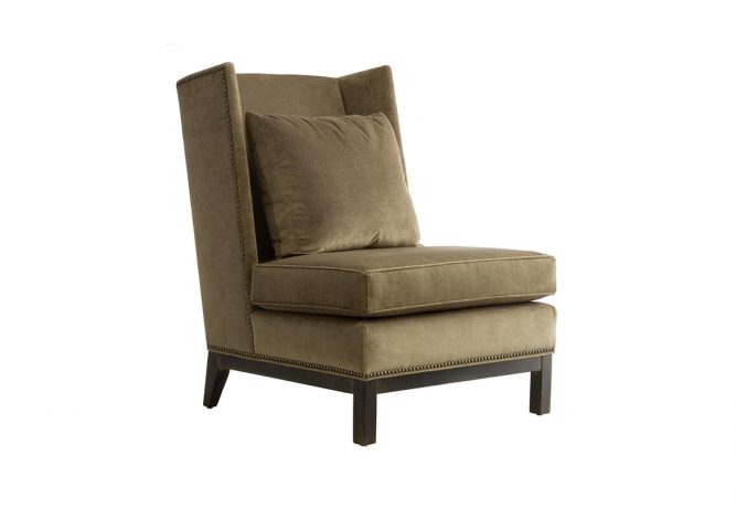 The beautiful 11135 contemporary slipper wing chair featurings feather filled back pillow and espresso wood finish