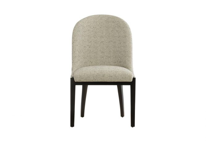 Beautiful transitional dining room chair featuring Crypton cream fabric, curved back, metal nail head trim, and beautiful espresso wood finish