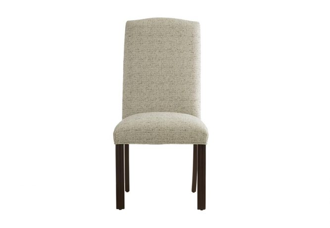 Traditional Side Chair by Vogel, the 11232 features a Crypton fabric in cream colour along with an espresso wood finish on the curved legs