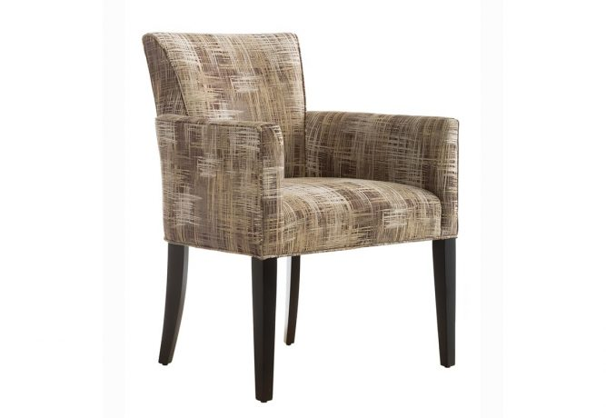 Beautiful side chair made in Toronto, ON by Vogel by Chervin featuring an dark brown finish on the solid wood legs of an accent chair