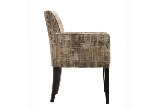 Side view of the beautiful 11240 contemporary side chair featuring espresso wood finish on the legs and a beautiful gold pattenred fabric on the back.