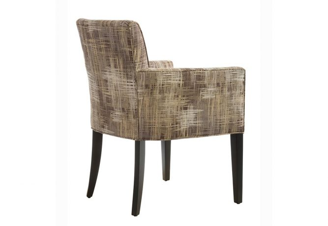 Rear view of the contemporary side chair featuring a beautiful gold patterned fabric and espresso wood finish