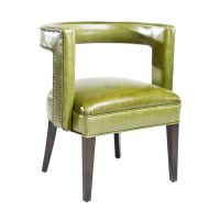 Beautiful transitional accent chair featuring green leather and brown espresso finish.