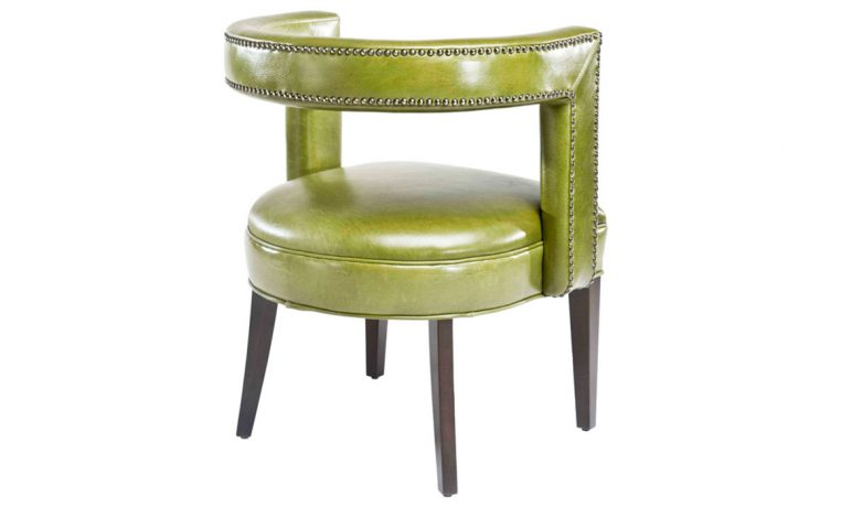 Rear view of a unique contemporary green chair that is stylish and will accent your family room