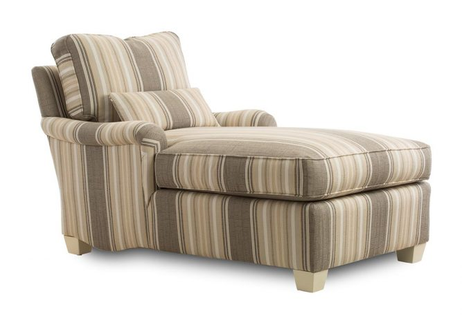 striped brown and tan custom chaise