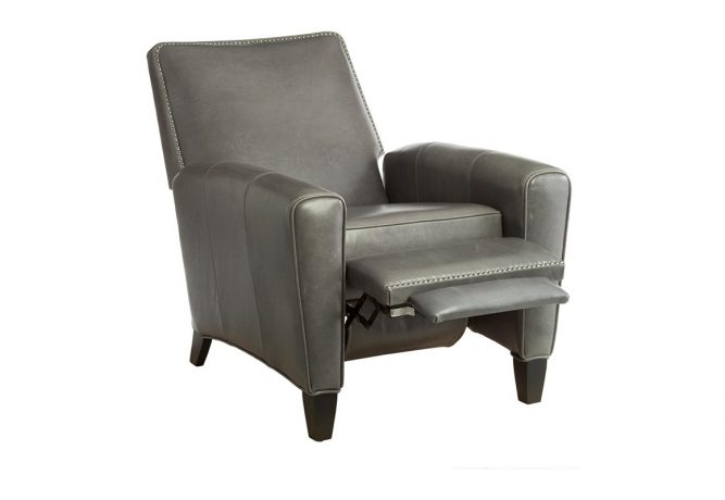 grey leather reclining chair