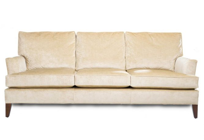traditional cream sofa with wooden legs