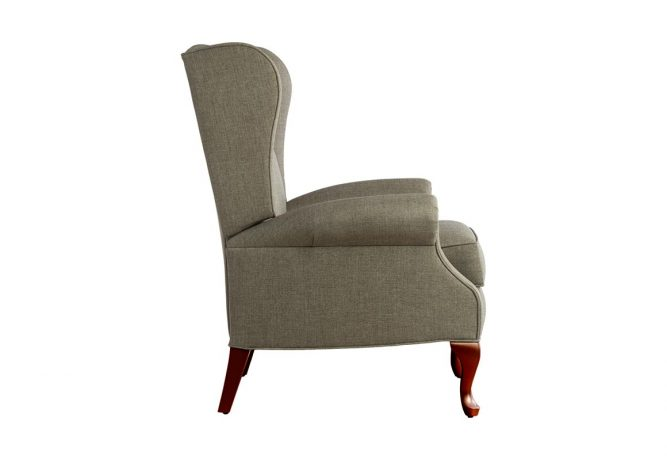 side view of traditional queen anne reclining chair