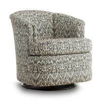 grey and white swivel tub chair with banded bottom