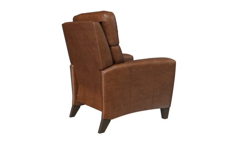 deluxe recliner in brown leather back view
