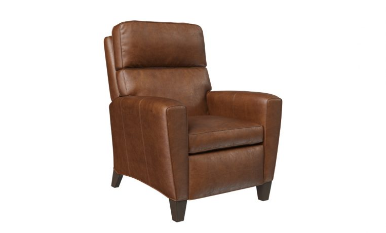 side view of deluxe recliner in brown leather