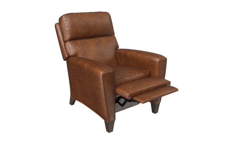 brown leather deluxe recliner in reclining position