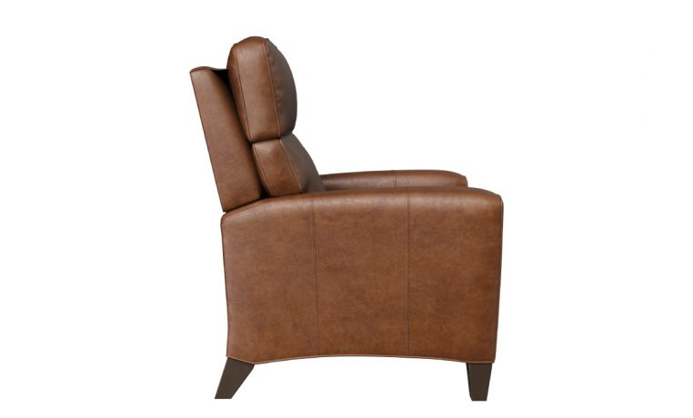 brown leather deluxe recliner with stained legs side veiw