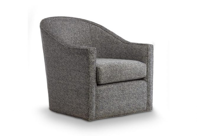 charcoal contemporary swivel chair with banded bottom