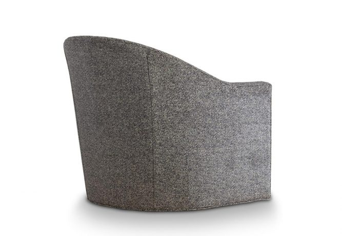 rear view of a contemporary swivel chair in grey