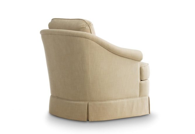 rear view of tan skirted swivel chair