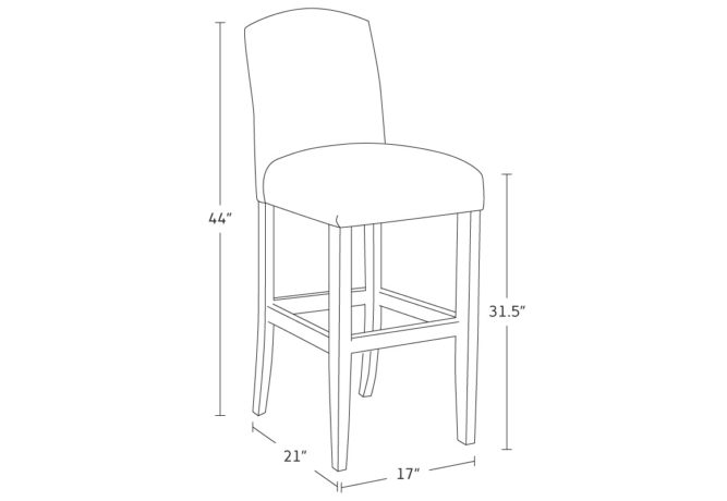 traditional hump bar stool drawing