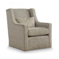 grey modern swivel chair featuring nail head trim