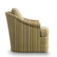 side view of a striped swivel chair with banded bottom