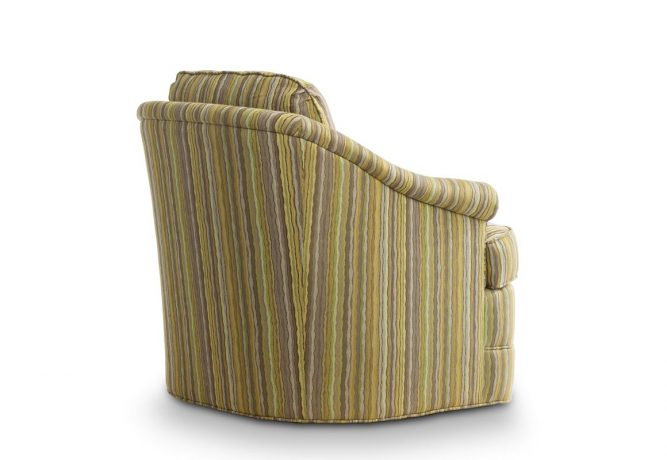 rear view of striped swivel chair that rotates 360