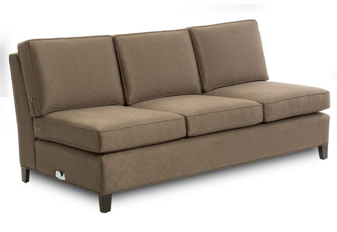 front view brown armless sofa