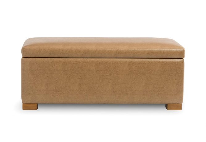brown leather bench with storage