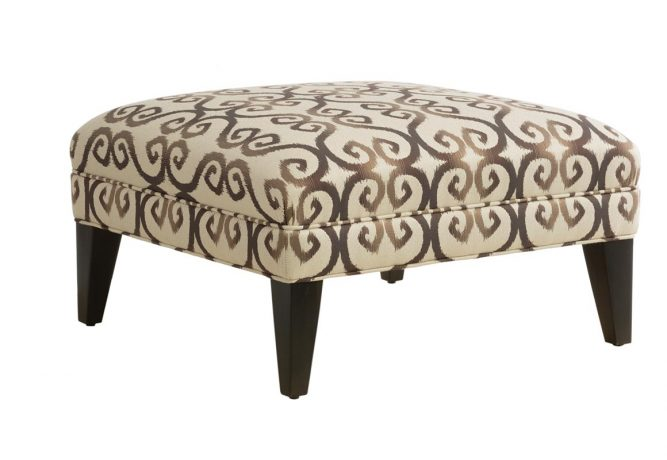 custom square ottoman with wooden legs