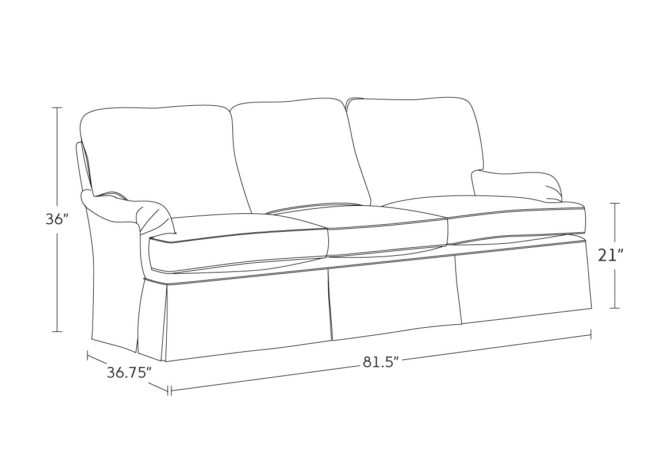 traditional skirted sofa drawing