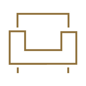 gold chair icon on white background