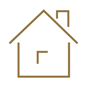 gold house icon on white background