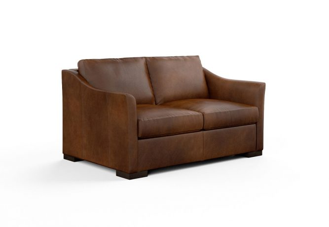 contemporary loveseat in brown leather