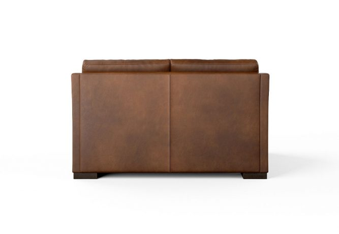 back view of brown leather loveseat