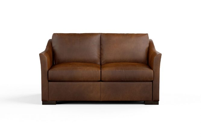brown leather contemporary loveseat