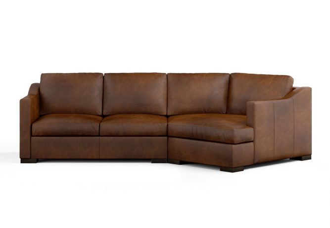 modern brown leather sectional with cuddler