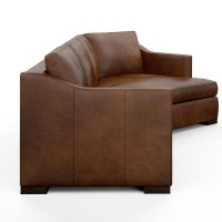 side view of modern brown leather sectional