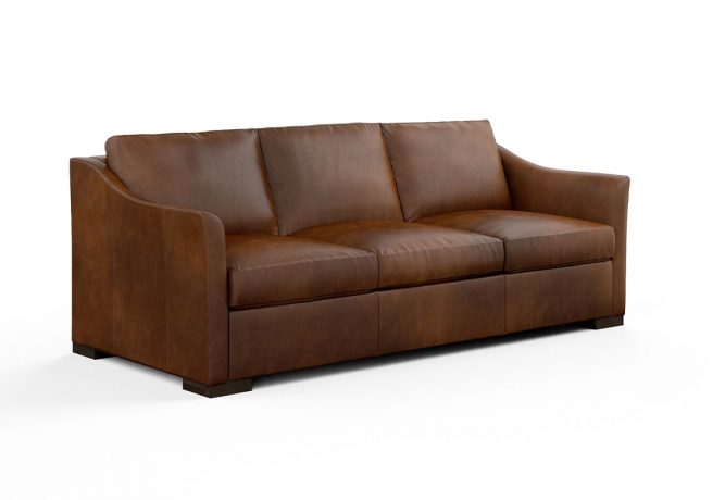 45 angle view of brown leather contemporary sofa