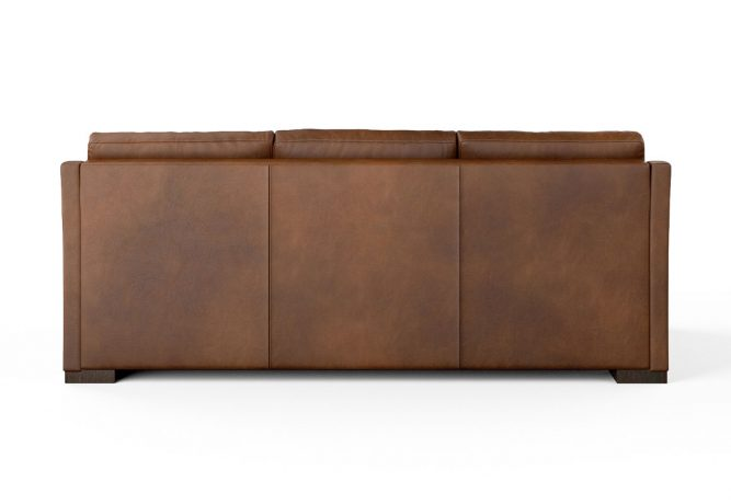 back view of brown leather sofa