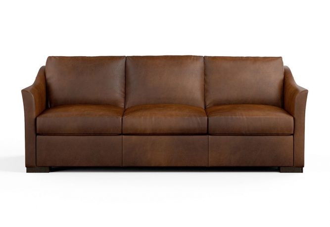 brown contemporary sofa with curved arms