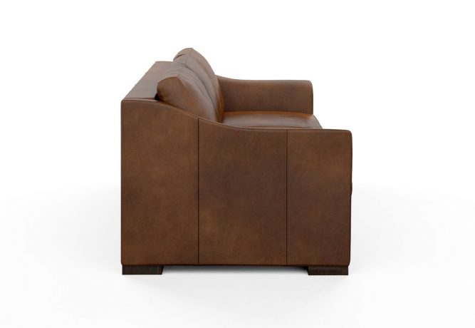 side view of contemporary brown leather sofa