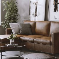 Brown leather sectional with chaise in living room