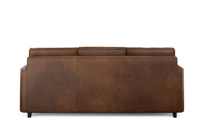 Brown leather sofa back