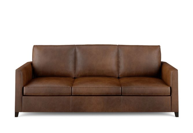 Condo sized sofa in brown leather