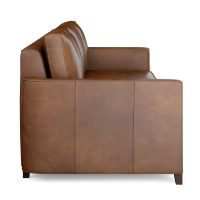 Brown leather sofa side