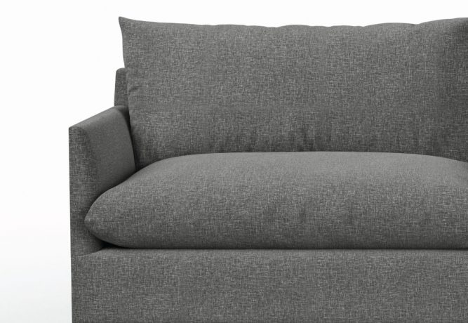 arm detail on dark grey sectional