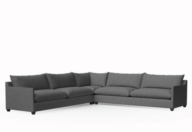 extra deep lounge sectional in dark charcoal fabric
