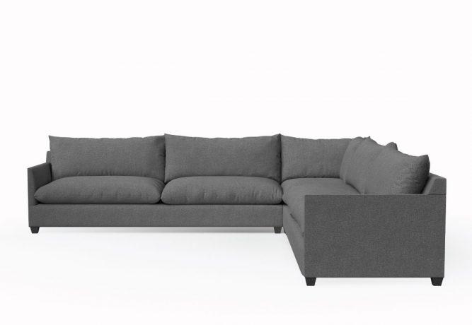 modern sectional in dark grey fabric