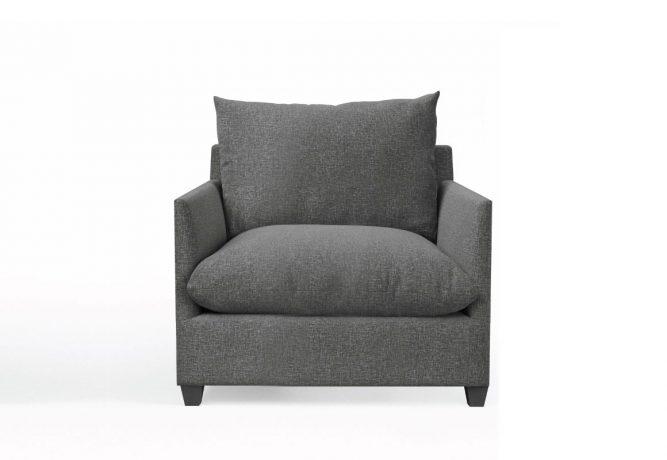 modern large lounge chair in dark grey fabric
